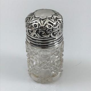シルバートップのガラス瓶 スクリュータイプ【アンティーク】カットガラス(金属工芸)