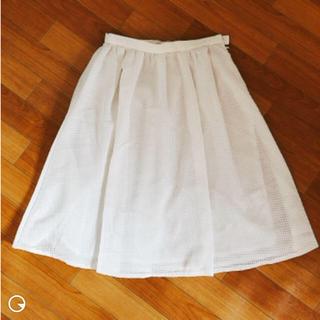 オフオン(OFUON)の白 スカート チェック 膝丈スカート(ひざ丈スカート)