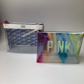 ヴィクトリアズシークレット(Victoria's Secret)のVS PINK ビニールポーチ 二個セット(ポーチ)