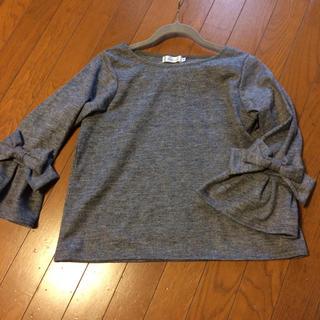 クチュールブローチ(Couture Brooch)のクチュールブローチ☆グレー  リボン袖 ウール カットソー(カットソー(長袖/七分))