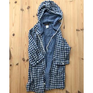 クアドロ(QUADRO)のフード付きチェックシャツ 半袖 〔クアドロ〕(Tシャツ/カットソー(半袖/袖なし))