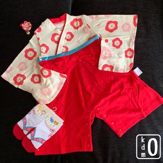 袴 ロンパース 足袋風ソックス ハンドメイド髪飾り セット 女の子 子供 ベビー(和服/着物)