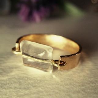 真鍮リングバー+水晶クリスタル(リング)