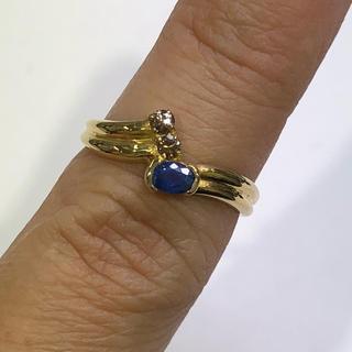 K18 サファイア ダイヤモンド リング 0.22ct(リング(指輪))