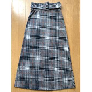 ザラ(ZARA)のZARA♡美品♡ ベルト付き チェック マキシスカート (ロングスカート)