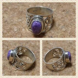 チャロアイトのアラベスク模様のシルバーリング(リング(指輪))