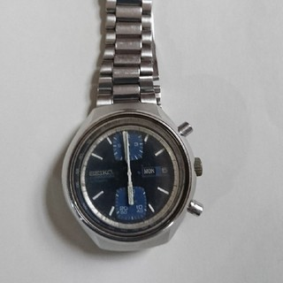セイコー(SEIKO)のSEIKOアンティーククロノ縦目ブルー(腕時計(アナログ))