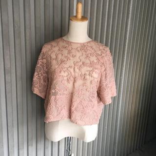 ヌメロヴェントゥーノ(N°21)のN°21 半袖ブラウス 刺繍 ピンクベージュレース リボン (シャツ/ブラウス(半袖/袖なし))