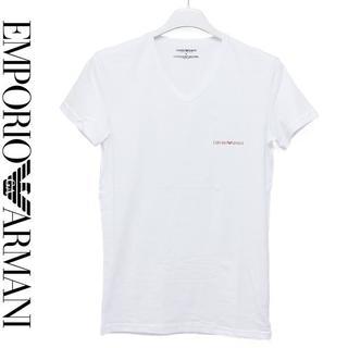 エンポリオアルマーニ(Emporio Armani)の22EMPORIO ARMANIロゴ ホワイト Vネック 半袖 TシャツS(Tシャツ/カットソー(半袖/袖なし))