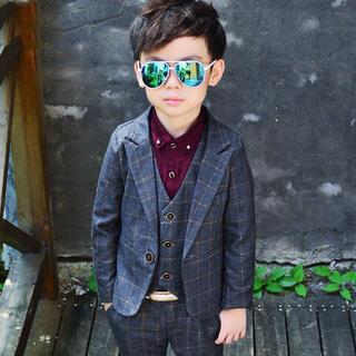 男の子 スーツ キッズ ネクタイ付 子供 3点セット ベスト 上下セット (ドレス/フォーマル)