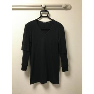 ダイエットブッチャースリムスキン(DIET BUTCHER SLIM SKIN)のダイエットブッチャースリムスキン 七分袖Vネックカットソー サイズ1 ブラック(Tシャツ/カットソー(七分/長袖))