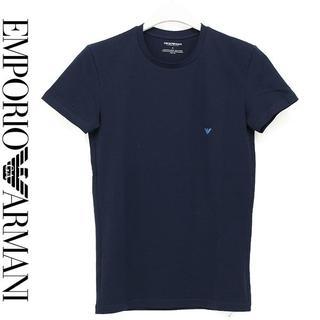 エンポリオアルマーニ(Emporio Armani)の26EMPORIO ARMANIロゴ ネイビー クルーネック半袖TシャツM(Tシャツ/カットソー(半袖/袖なし))