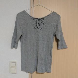 ジーユー(GU)のGU 2WAYリブレースアップT(5分袖)  (Tシャツ(長袖/七分))