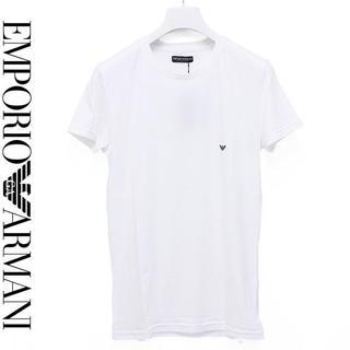 エンポリオアルマーニ(Emporio Armani)の19EMPORIO ARMANIロゴ ホワイト クルーネック半袖TシャツL(Tシャツ/カットソー(半袖/袖なし))