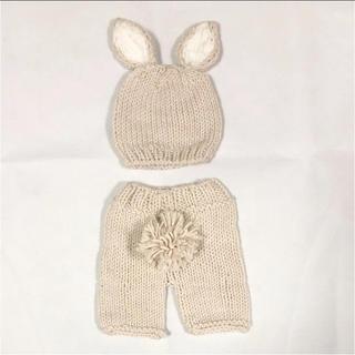新品!うさぎのニット帽としっぽ付き毛糸パンツセット(ニット/セーター)