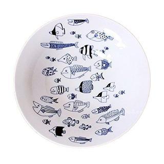 ハサミ(HASAMI)の波佐見焼natural69cocomarine 大鉢 魚の群れ柄 新品送料込(食器)