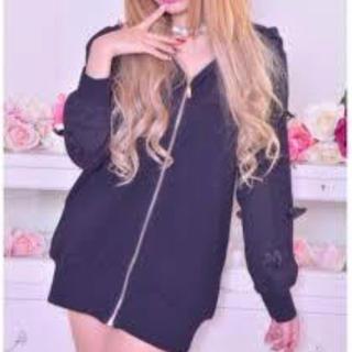マーズ(MA*RS)のMA*RS♡ブラック♡りぼん袖パーカー♡パーカーミニワンピ♡(ミニワンピース)