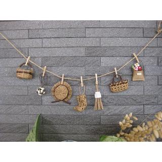 茶色★ミニチュアかごや帽子のガーランド エコクラフト 壁飾り(雑貨)