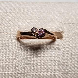 ノジェス(NOJESS)のノジェス 4℃ 10K ダイヤモンド サファイア ピンクゴールド 美品(リング(指輪))