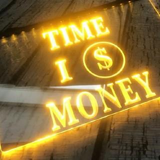 金運のledパネル Time is momey ネオンサイン看板(フロアスタンド)