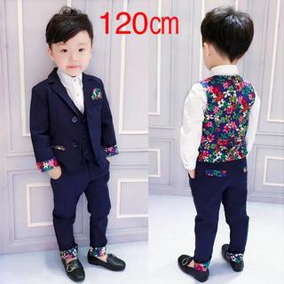 【120cm】3点セット花柄ポイント フォーマル スーツセット 120(ドレス/フォーマル)