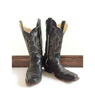 トニーラマ(Tony Lama)のJustinブラック刺繍スクエアトゥウエスタンブーツ黒Made in USA(ブーツ)
