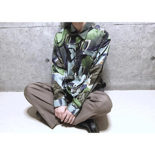 [used]LL art design rayon mix shirt.(シャツ)