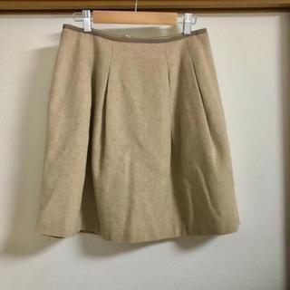 クチュールブローチ(Couture Brooch)の【クチュールブローチ】秋冬用ウール風ベージュの膝丈フレアスカートM ワールド(ひざ丈スカート)