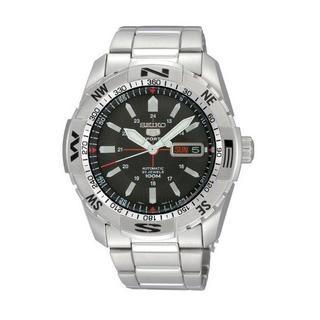 セイコー(SEIKO)のSEIKO 5 自動巻き腕時計SNZJ05JC ブラック 方位ベゼル【新同】(腕時計(アナログ))