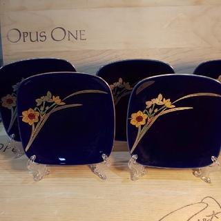 コウランシャ(香蘭社)の香蘭社 銘々皿 揃 5P 瑠璃 金彩菖蒲 12×12㎝(食器)