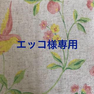 小鳥と草花模様  リネン麻入り暖簾(のれん)