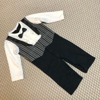 90cm ◾︎新品!スーツ型 ロンパース◾︎ 男の子用フォーマル白黒蝶ネクタイ(ドレス/フォーマル)