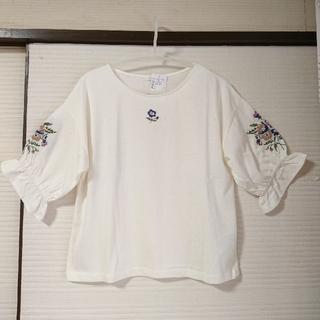 エヘカソポ(ehka sopo)の新品◆袖刺繍プルオーバー  M 定価¥4,212円キャンディスリーブ  キナリ (カットソー(長袖/七分))