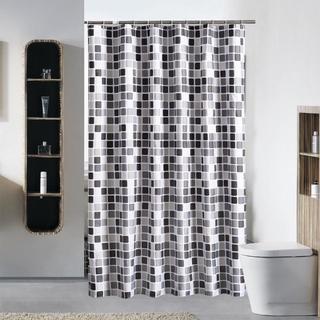 ▼高級 シャワー カーテン 北欧 バスルーム モザイクタイル(カーテン)
