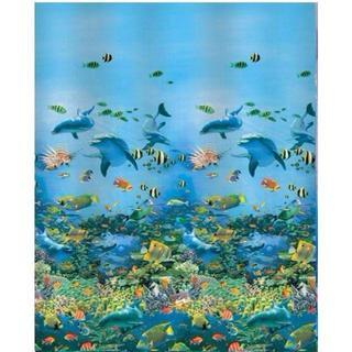 無言OK イルカ 熱帯魚 シャワー カーテン 180x180 送料無料 111(カーテン)