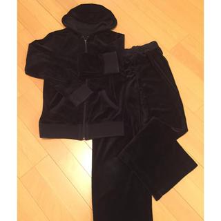 セシール(cecile)のベロア素材 レディース スウェット セットアップ 黒 S(セット/コーデ)