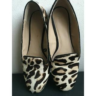 ザラ(ZARA)のZARA レオパード ハラコ フラットシューズ   (ローファー/革靴)