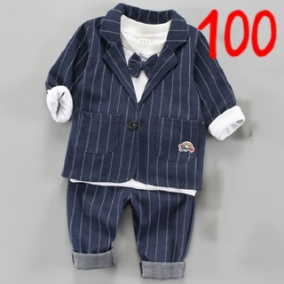 ジャケット♡3点セット♡100センチ♡フォーマル♡セットアップ♡ネイビー♡男の子(ドレス/フォーマル)