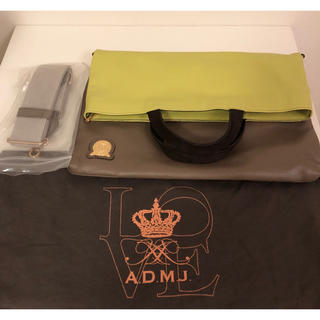 エーディーエムジェイ(A.D.M.J.)のクーポン期間限定 未使用品 ADMJ 3way バッグ ライムイエロー トープ(ショルダーバッグ)
