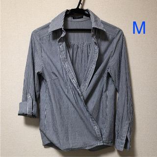 シーディーエスベーシック(C.D.S BASIC)のカシュクールシャツ ストライプ Mサイズ(シャツ/ブラウス(長袖/七分))