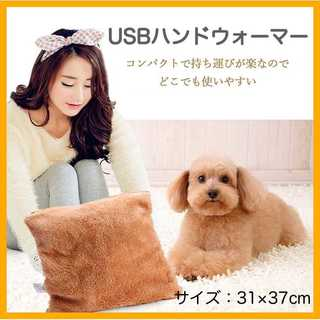 USBハンドウォーマー 膝掛け ブラウン 【新品】(毛布)