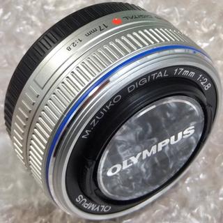 オリンパス(OLYMPUS)のオリンパス 17mm F2.8 パンケーキレンズ 美品 単焦点レンズ シルバー(レンズ(単焦点))
