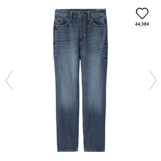 ジーユー(GU)のGU ハイウエストストレートジーンズ ブルー XL(デニム/ジーンズ)