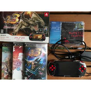 プレイステーションポータブル(PlayStation Portable)のPSP 新米ハンターズパック+ソフト2本セット 美品(携帯用ゲーム本体)