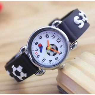 キッズ   サッカー腕時計   黒      新品(腕時計)