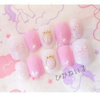 チーク雪結晶♡ピンク,ベリーショートネイル(ネイルチップ)