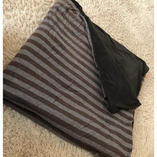 ムジルシリョウヒン(MUJI (無印良品))の値下げ 無印 こたつ布団カバー 正方形 ボーダー柄 中古 シミあり(こたつ)