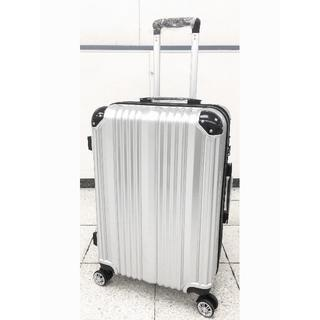 中型軽量スーツケース 8輪キャスター TSAロック付き Mサイズ シルバー(旅行用品)