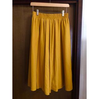 シマムラ(しまむら)のしまむら マスタードイエロー 麻混 スカート Lサイズ  ベイクドカラー(ひざ丈スカート)