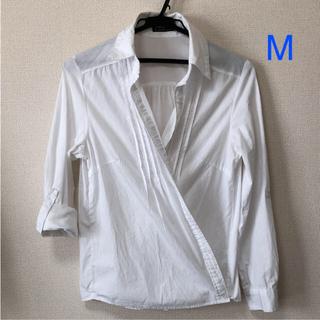 シーディーエスベーシック(C.D.S BASIC)のシーディーエスベーシック カシュクールシャツ ホワイト 白 Mサイズ(シャツ/ブラウス(長袖/七分))